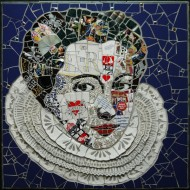 Susan Elliott (UK) 'The New Elizabethan, Modern Royal', 2012,   62x62x2.1cm recycled ceramic, mosaic tesserae, badges on board