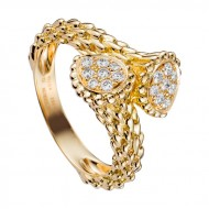 6 serpent boheme toi et moi small ring in yellow gold set with diamonds